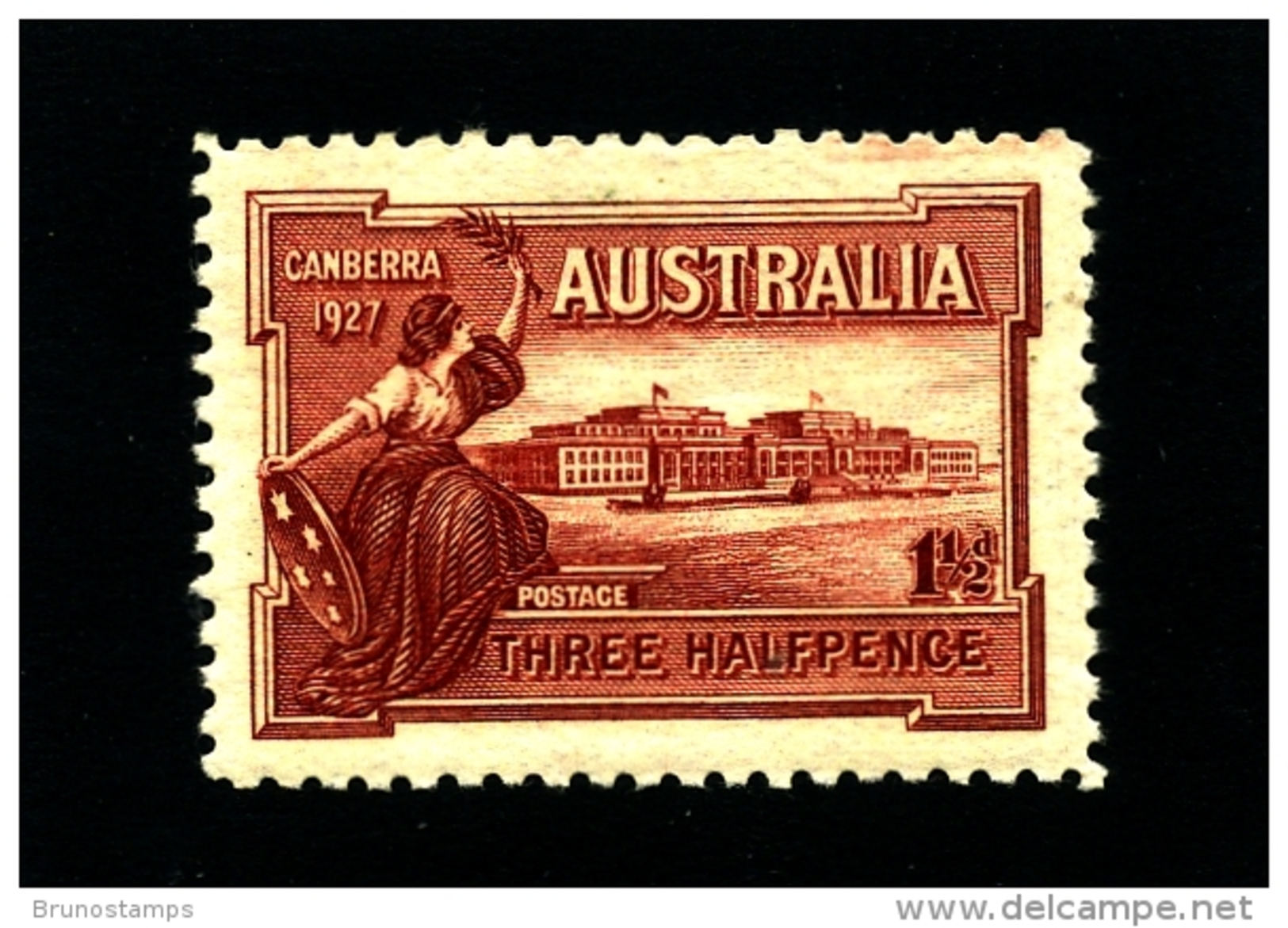 AUSTRALIA - 1927  1 1/2 D  CANBERRA  MINT NH  SG 105 - 1913-36 George V : Other Issues