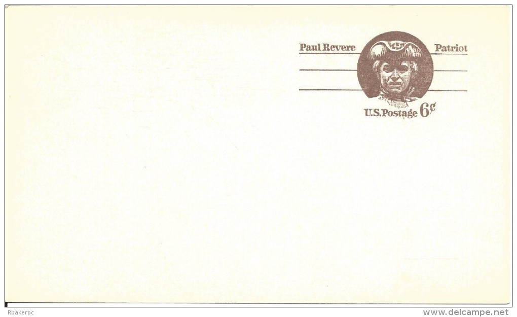 USA Postal Card - Paul Revere - 6 Cent Card - UNUSED - 1961-80