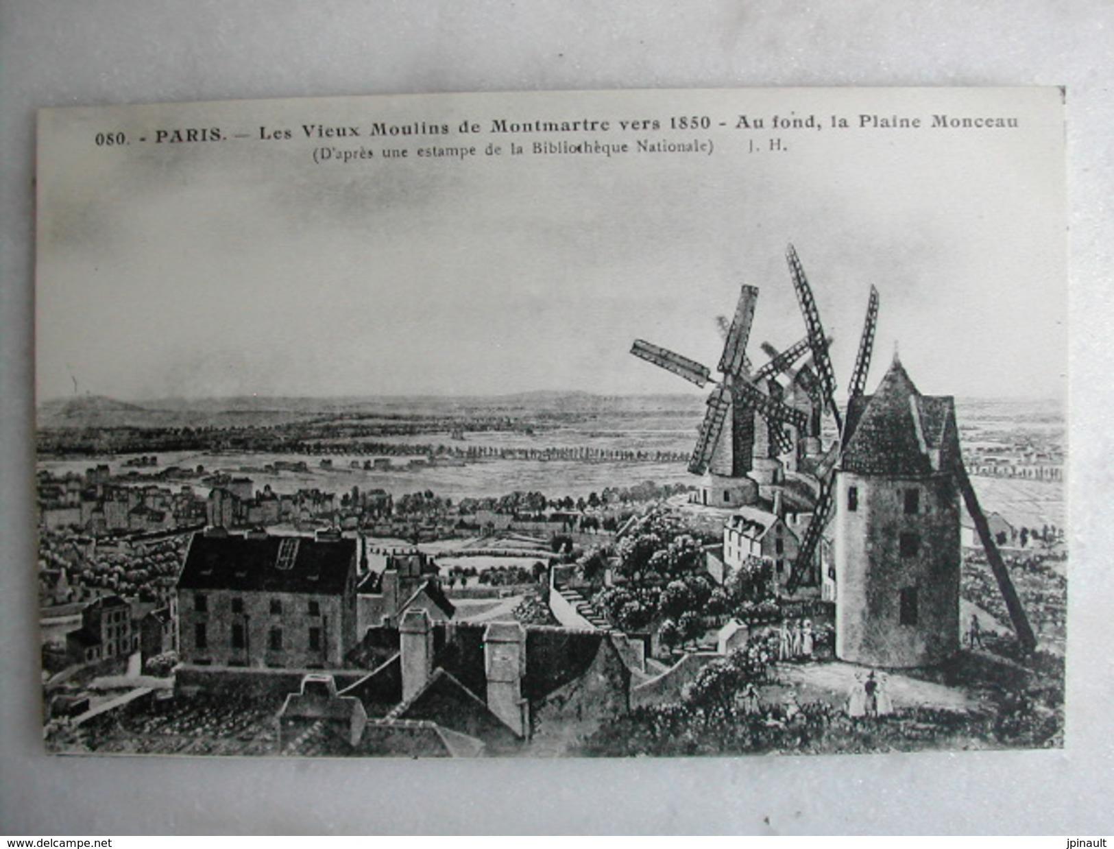 TABLEAUX - Paris Montmartre - Les Vieux Moulins De Montmartre Vers 1850 - Au Fond, La Plaine Monceau - Paintings