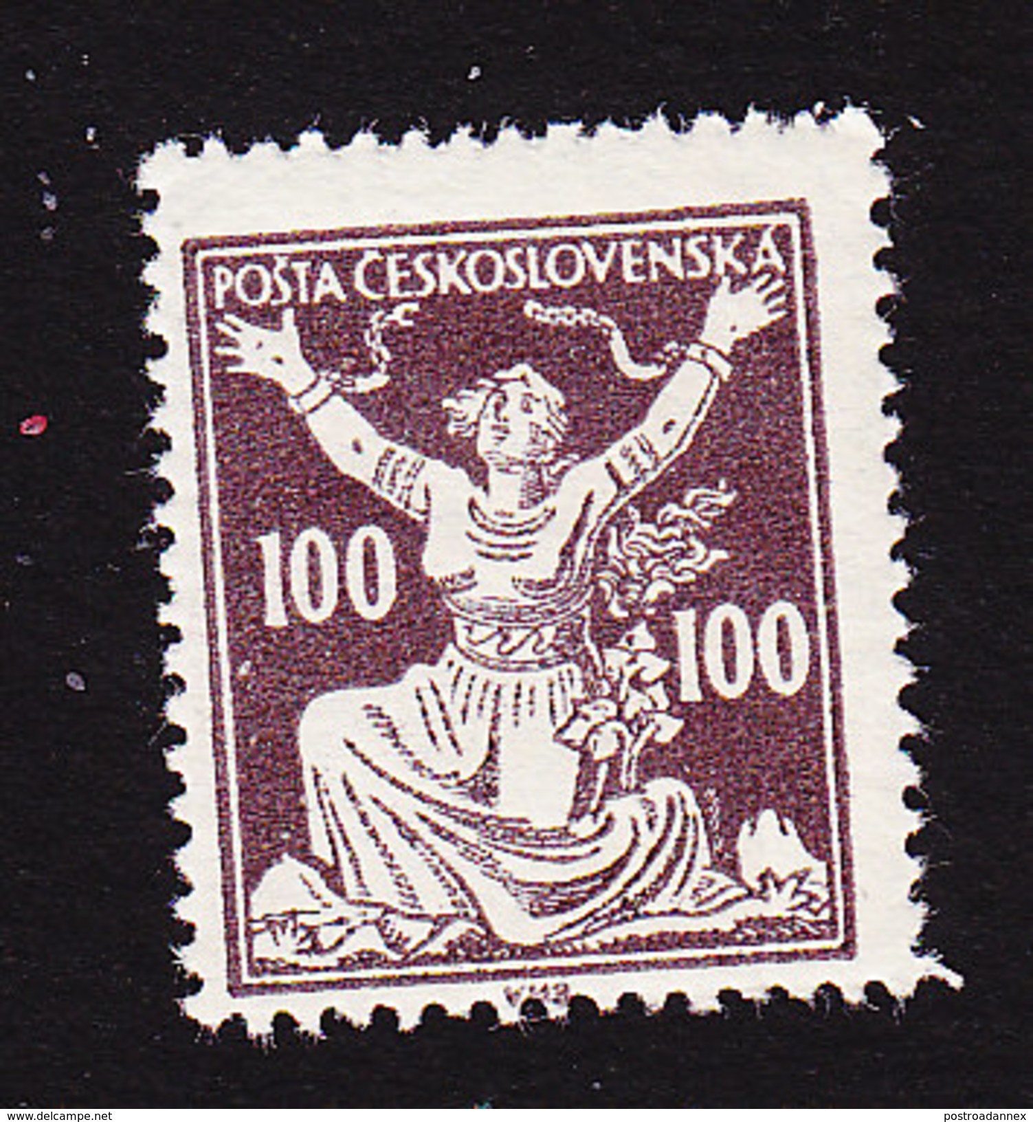 Czechoslovakia, Scott #88, Mint Hinged, Czechoslovakia Breaking Chains, Issued 1920 - Czechoslovakia