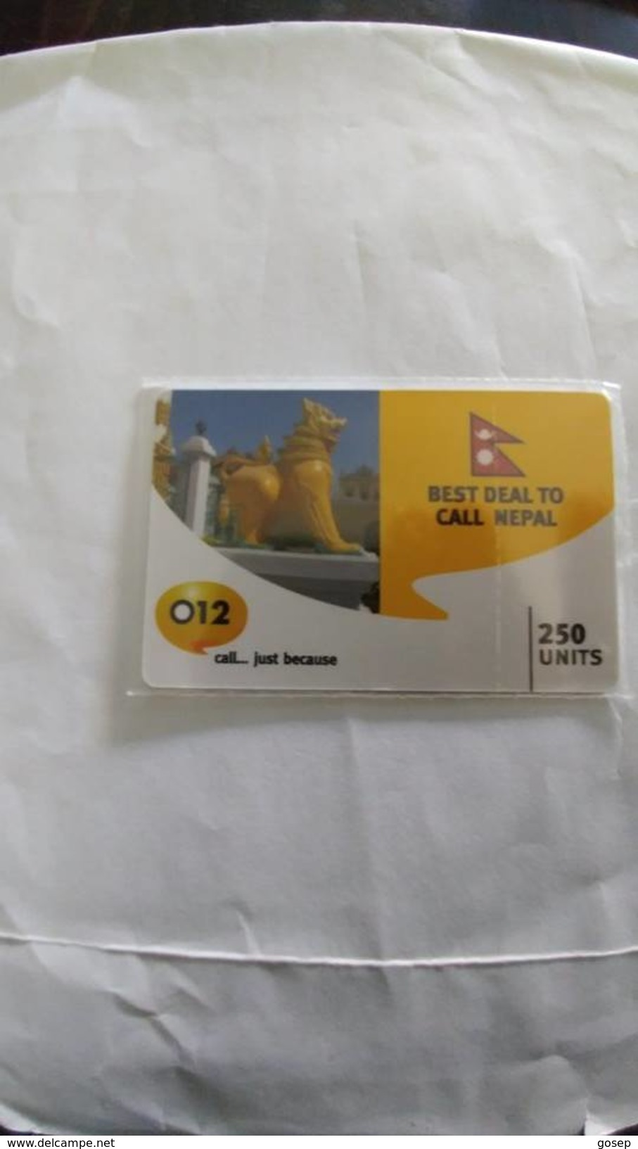 Israel-best Deal To Call Nepal-(1)-flag-(250units)-(012call Just Because)-(1.5.2008)-mint Card - Nepal