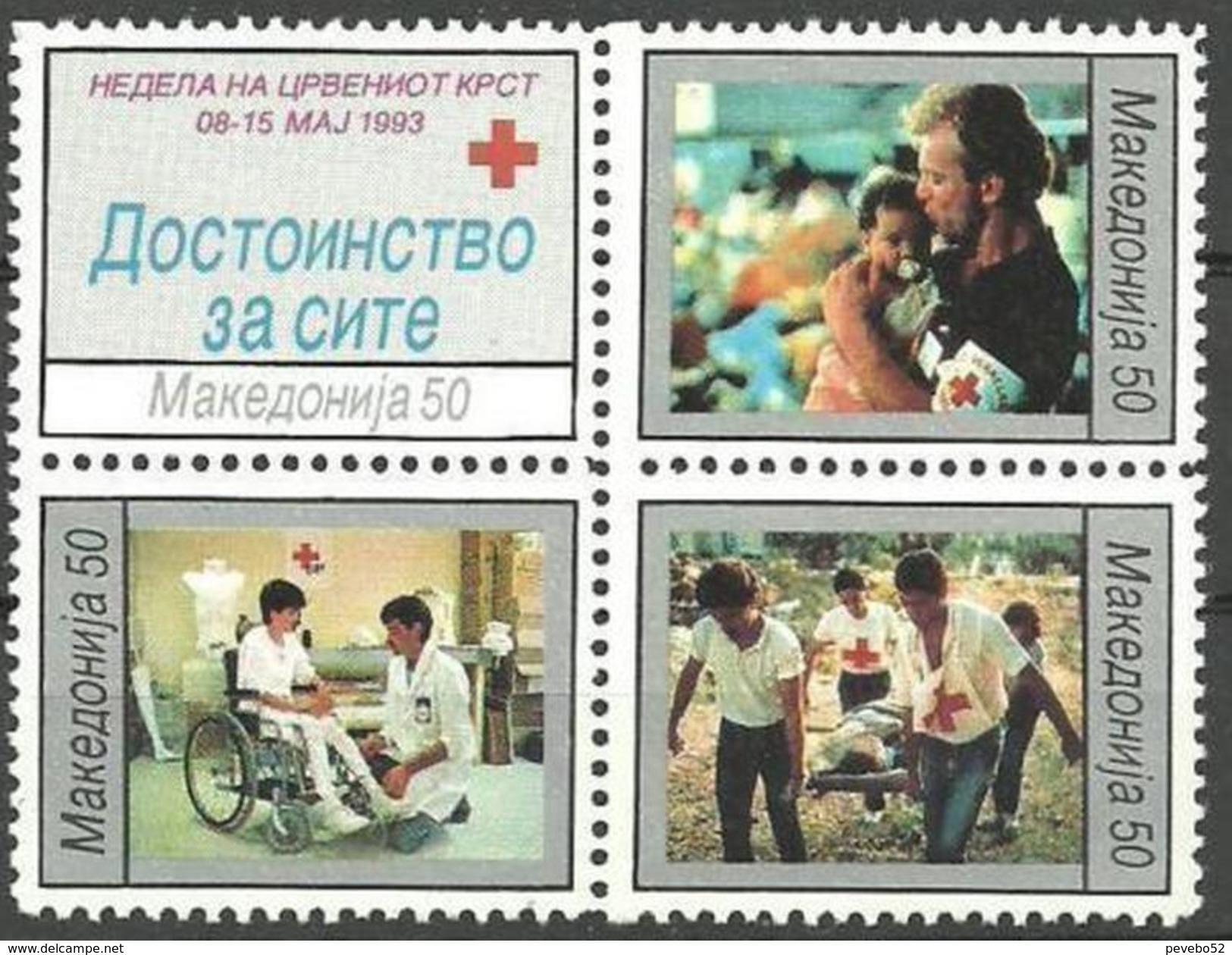 MACEDONIA 1993 Red Cross Block Of 4 MNH - Macédoine