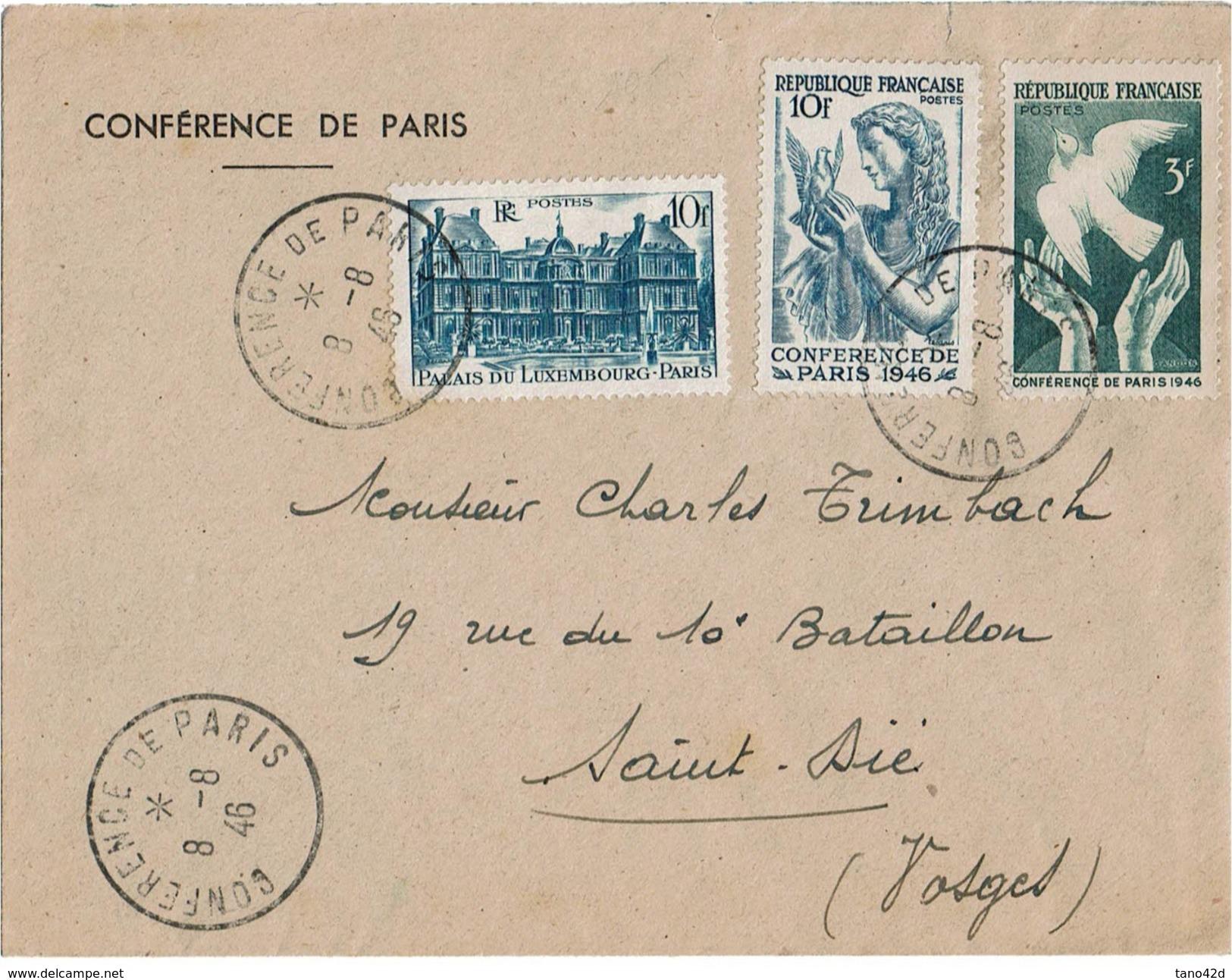 CTN46 - LETTRE CONFERENCCE DE PARIS  8/8/1946 - France