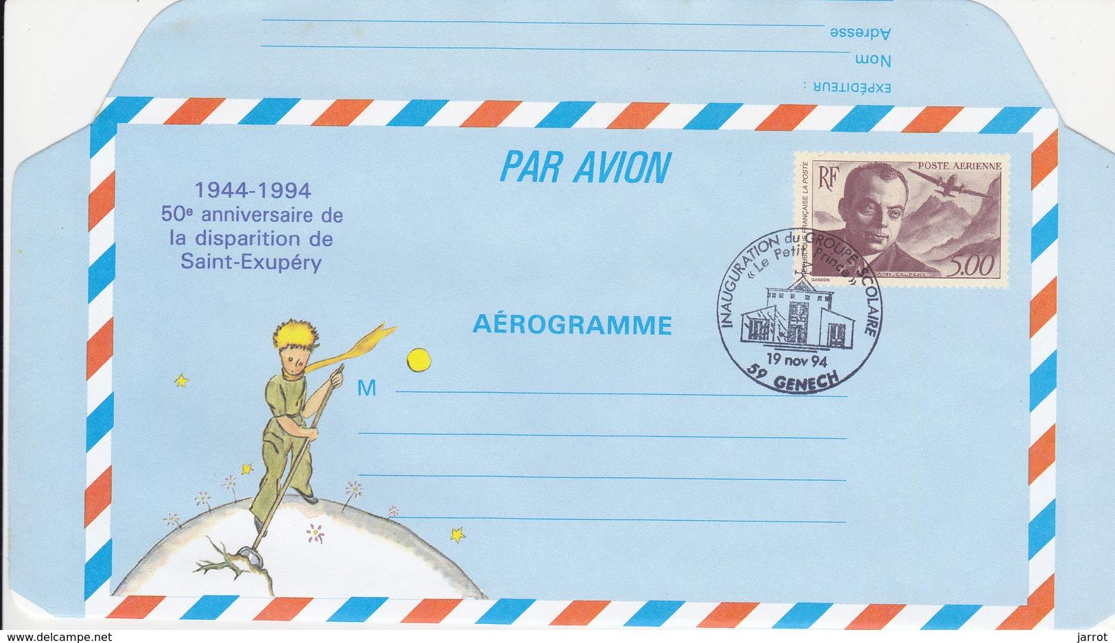 Aerogramme Saint Exupéry Oblit 19/11/94 College De GENECH - Ganzsachen