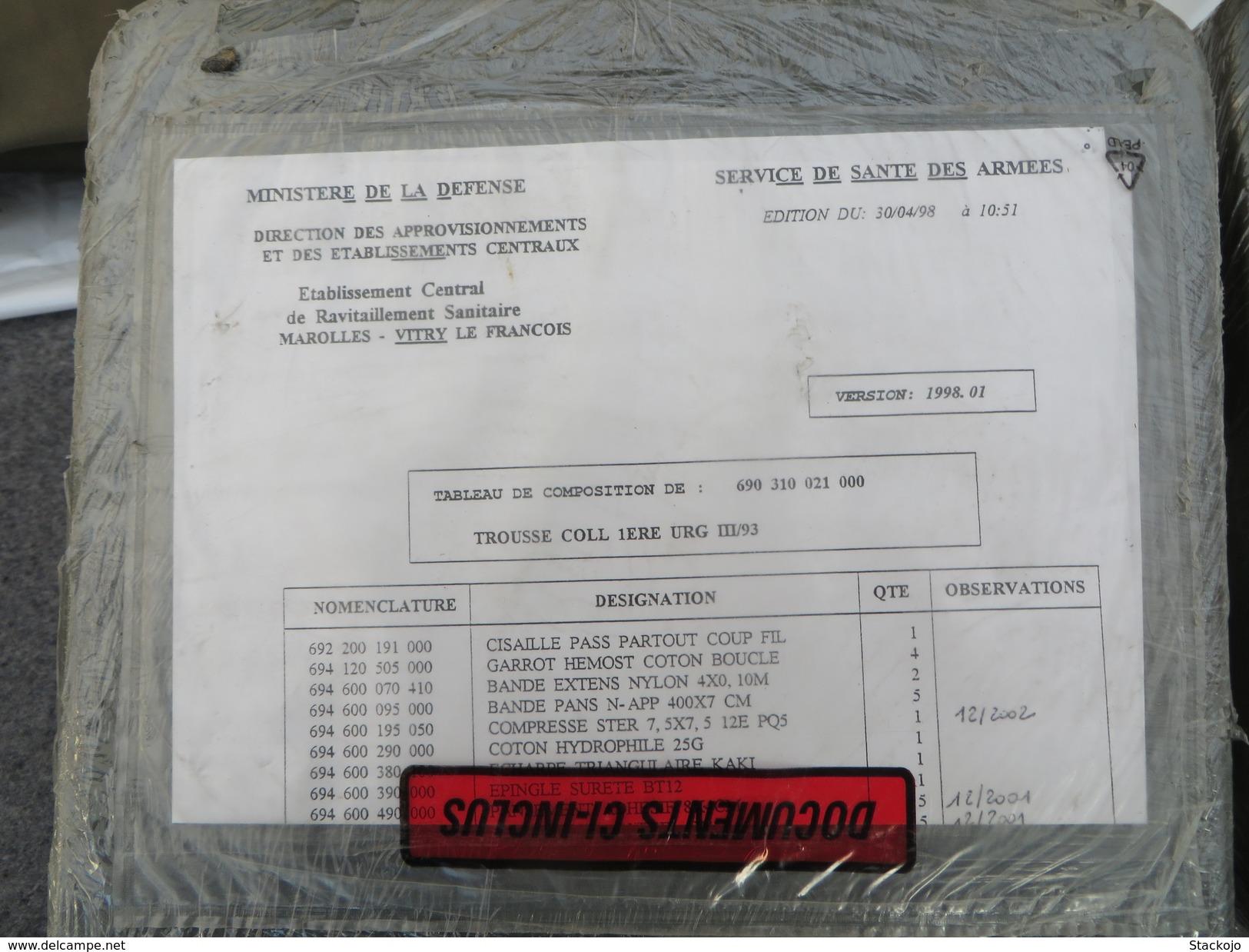 Trousse De 1er Urgence Collective De L'Armée Française - Equipement