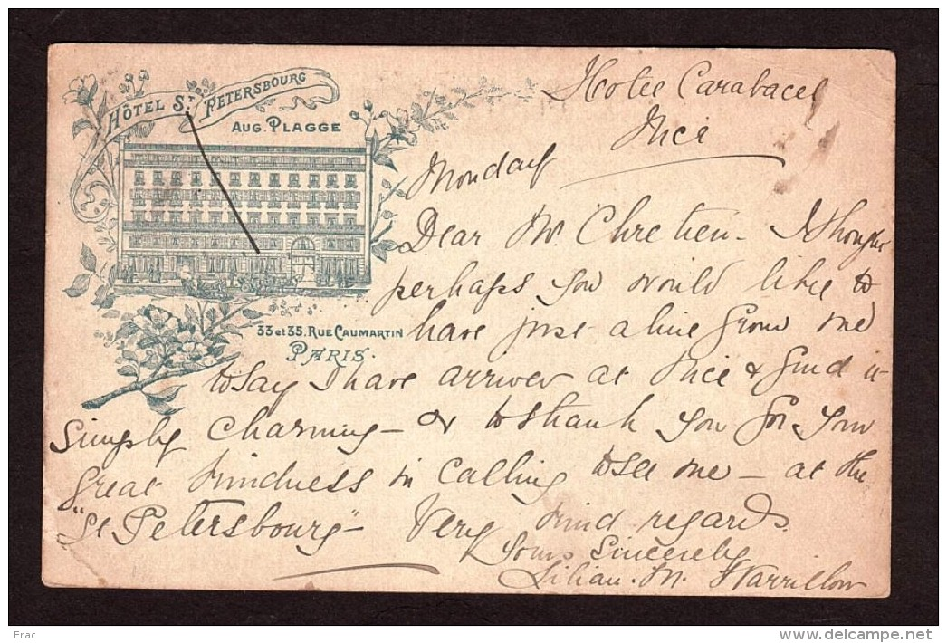 """1900 - Oblitération Daguin Sur Paire Type Sage (n° 102) - Carte """"Hôtel St Petersbourg"""" - Nice Pour Paris - 1849-1876: Periodo Clásico"""