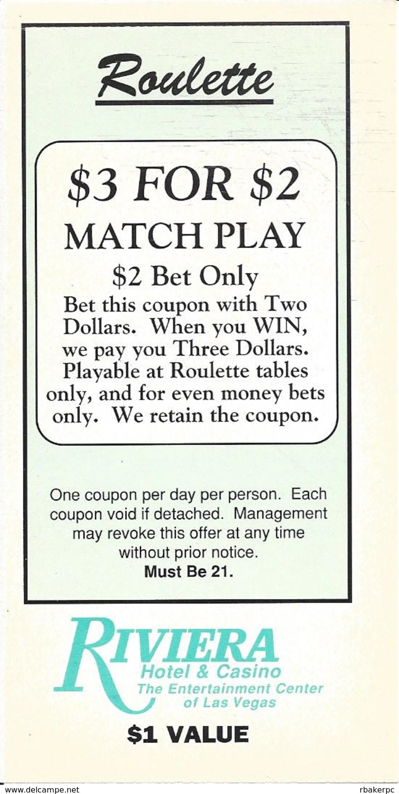 Riviera Casino Las Vegas, NV - Paper Roulette $3 For $2 Match Play Coupon - Advertising