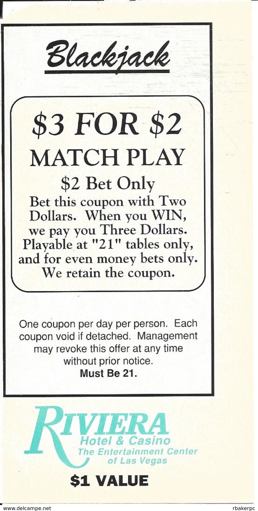 Riviera Casino Las Vegas, NV - Paper Blackjack $3 For $2 Match Play Coupon - Advertising