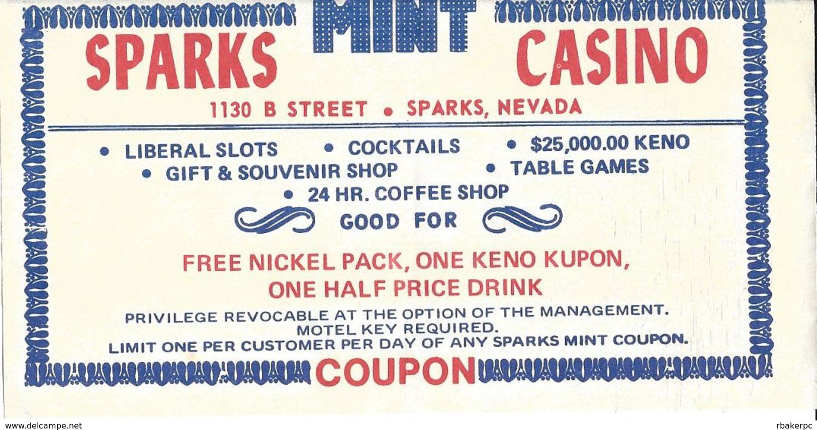 Sparks Mint Casino - Sparks, NV - Paper Coupon For Free Nickel Pack, One Keno Kupon & One Half Price Drink - Advertising
