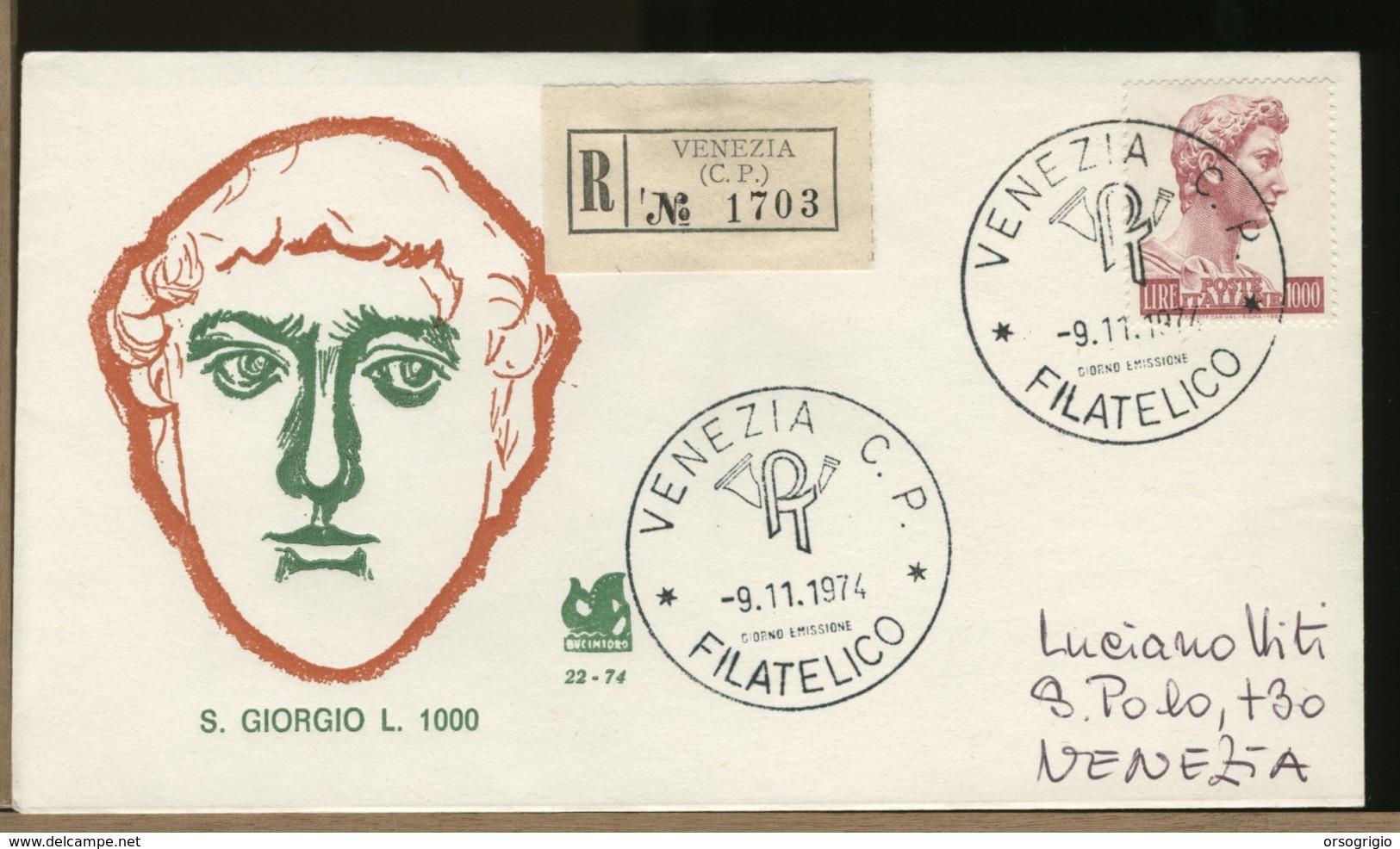 ITALIA - FDC -  SAN GIORGIO 1.000    1974 - FDC