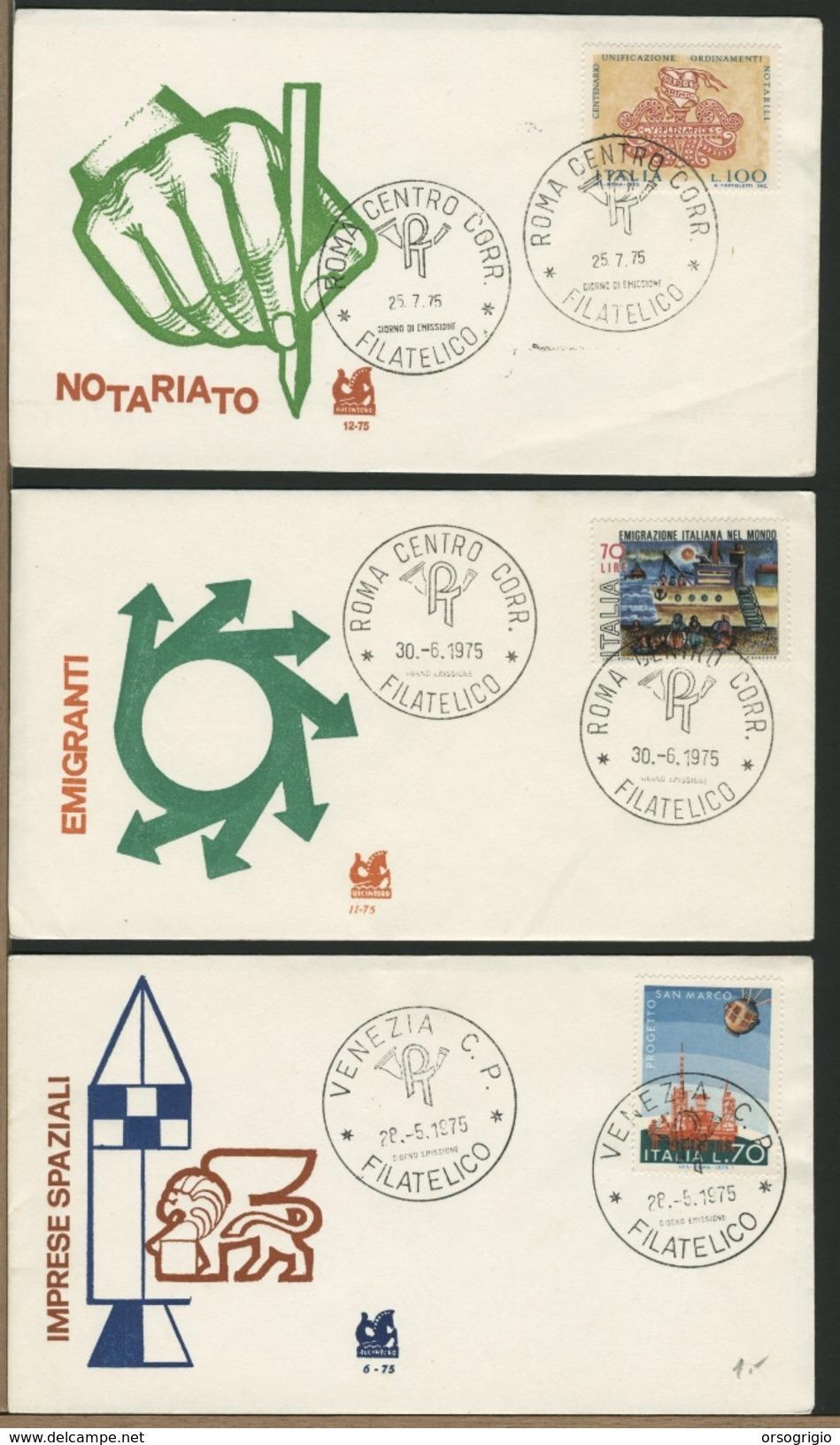 ITALIA - FDC -  PROGETTO SAN MARCO - EMIGRAZIONE - ORDINAMENTI NOTARILI 1975 - FDC