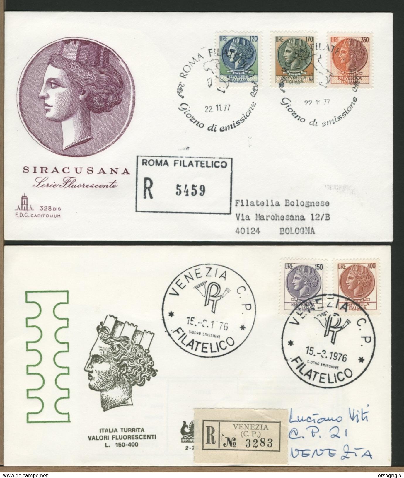 ITALIA - FDC -  SIRACUSANA  TURRITA  1977  1976  FLUORESCENTI - F.D.C.