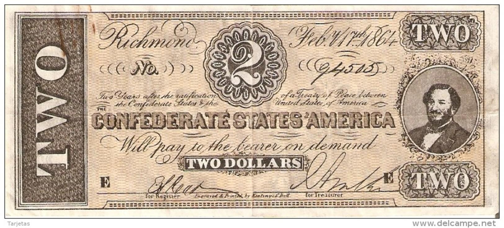 BILLETE DE ESTADOS UNIDOS DE 2 DOLLARS DEL AÑO 1864  (BANKNOTE) REPLICA - Billetes De Estados Unidos (1928-1953)