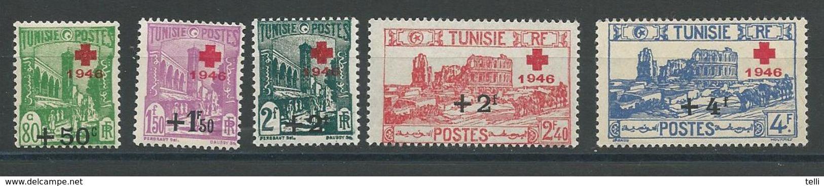TUNISIE Scott B91-B95 Yvert 305-309 (5) ** Cote 9$ - Tunisie (1888-1955)