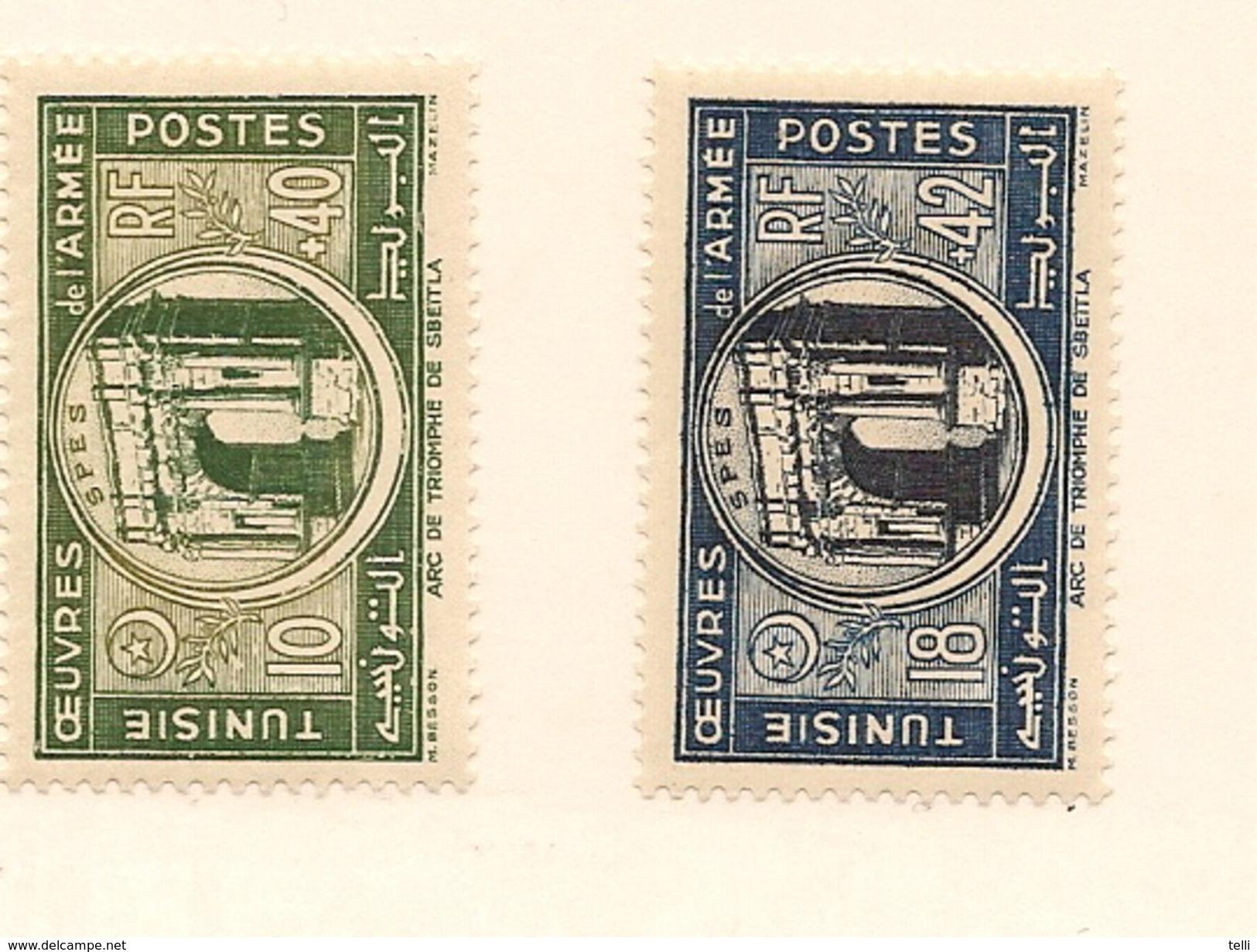 TUNISIE Scott B104-B105 Yvert 326-327 (2) * Cote 4$ - Tunisie (1888-1955)