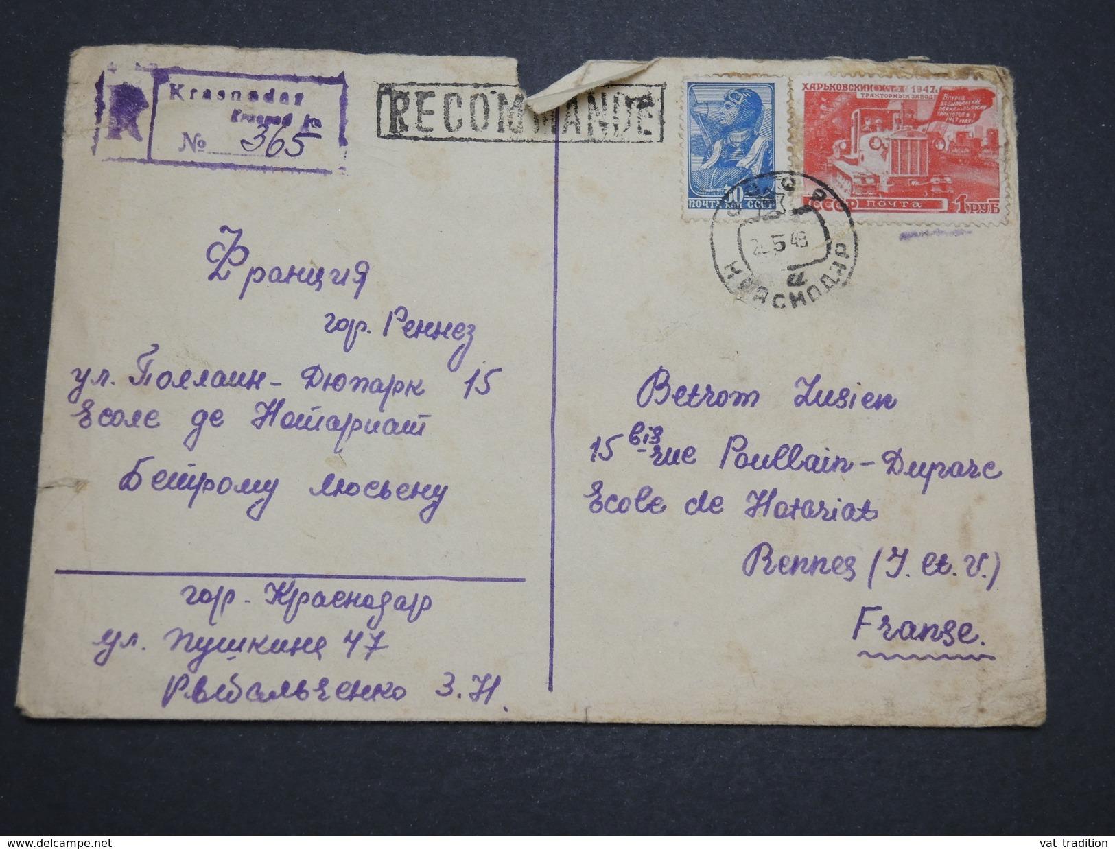 RUSSIE - Enveloppe En Recommandée Pour La France En 1948 , Affranchissement Plaisant - A Voir - L 6105 - 1923-1991 URSS