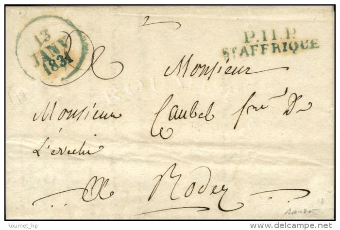 P. 11. P. / St AFFRIQUE (bleu) Dateur A (bleu). 1831. (cote : 380). - TB / SUP. - Postmark Collection (Covers)