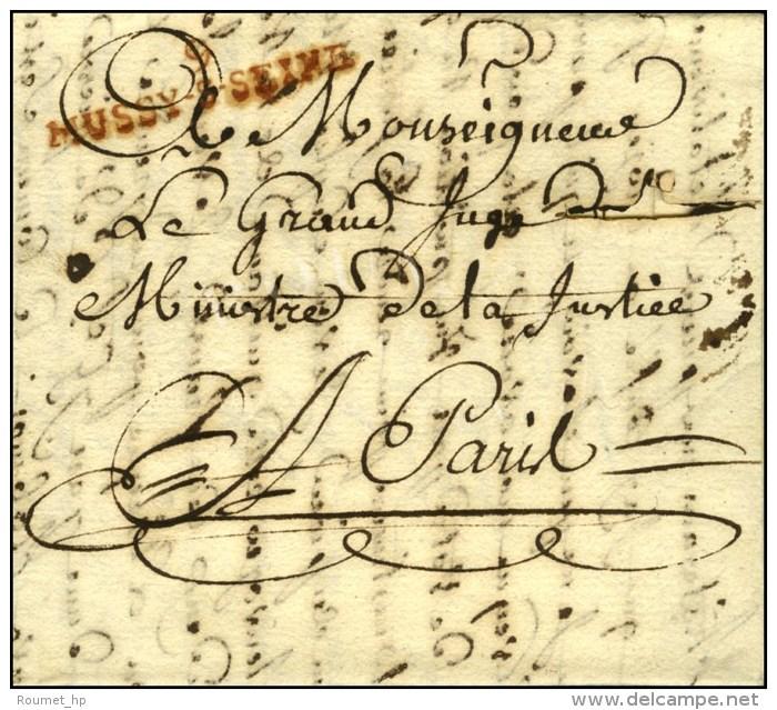 9 / MUSSY-S-SEINE Rouge (NR De MUSSY L'EVEQUE) Sur Lettre Avec Texte Daté Mussy-sur-Seine. An 11. - TB /... - Postmark Collection (Covers)
