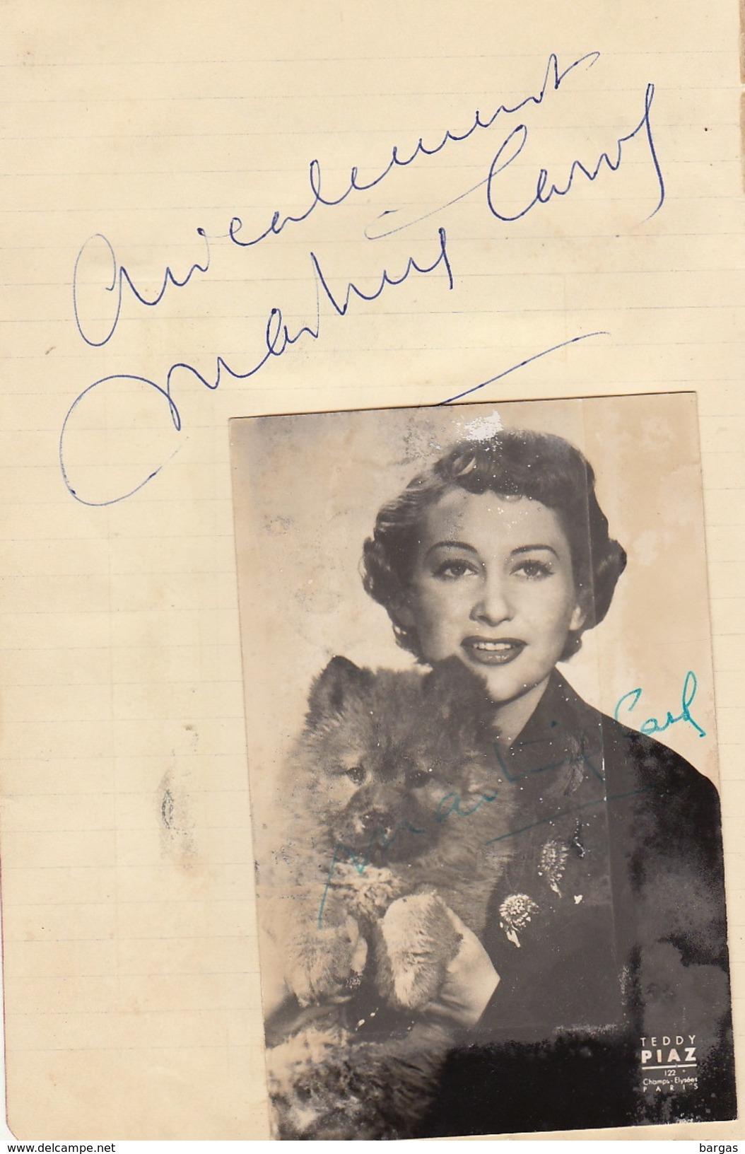 Autographe De Martine Carol - Autographs
