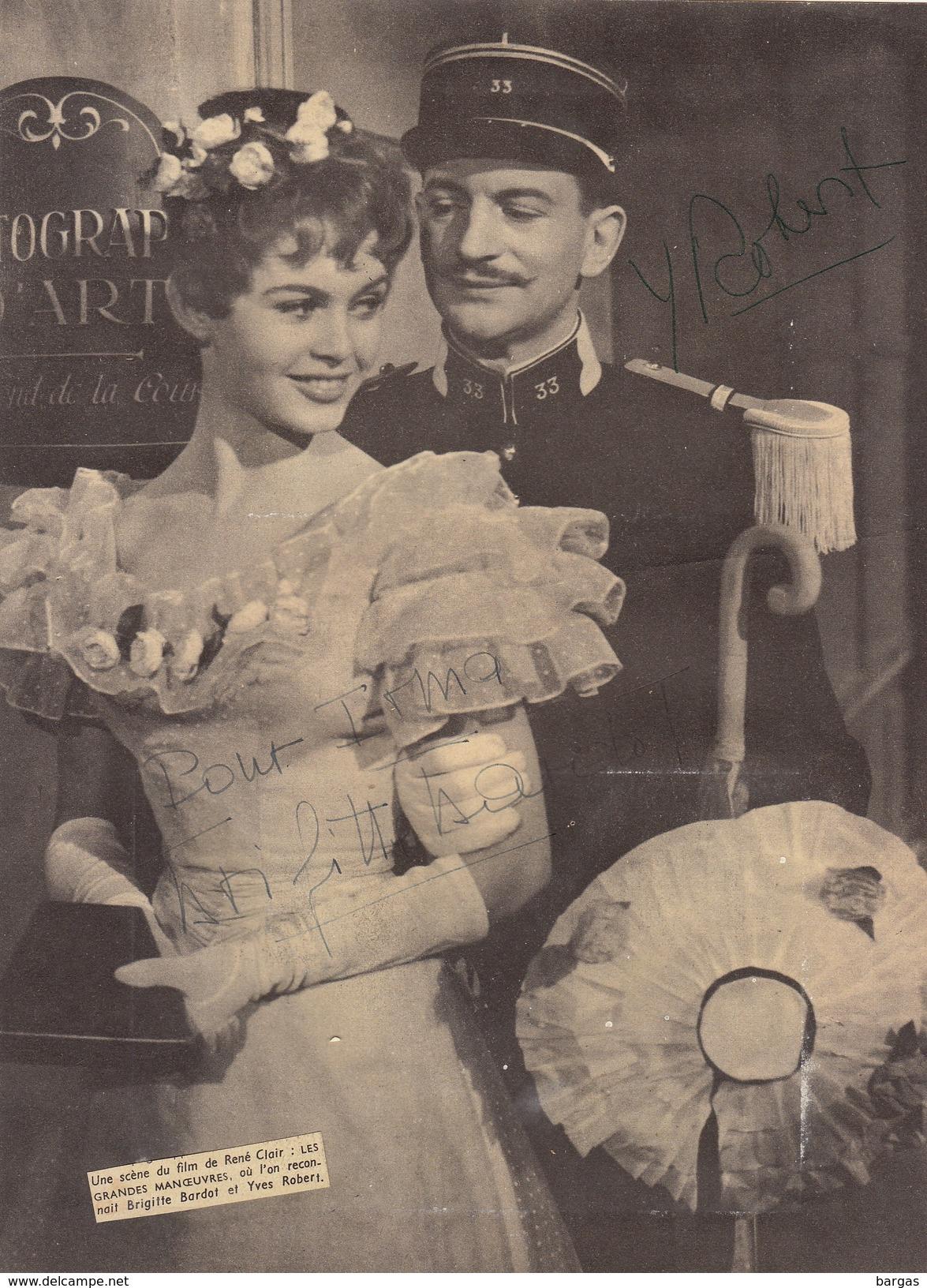Autographe De Brigitte Bardot Et Yves Robert - Autographes