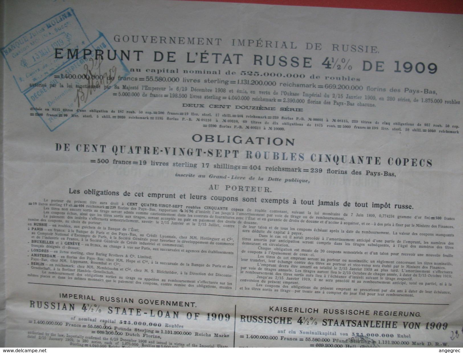 Emprunt De L'Etat Russe De 4 1/2 % De 1909, N°  02993 / 04663 - Russie