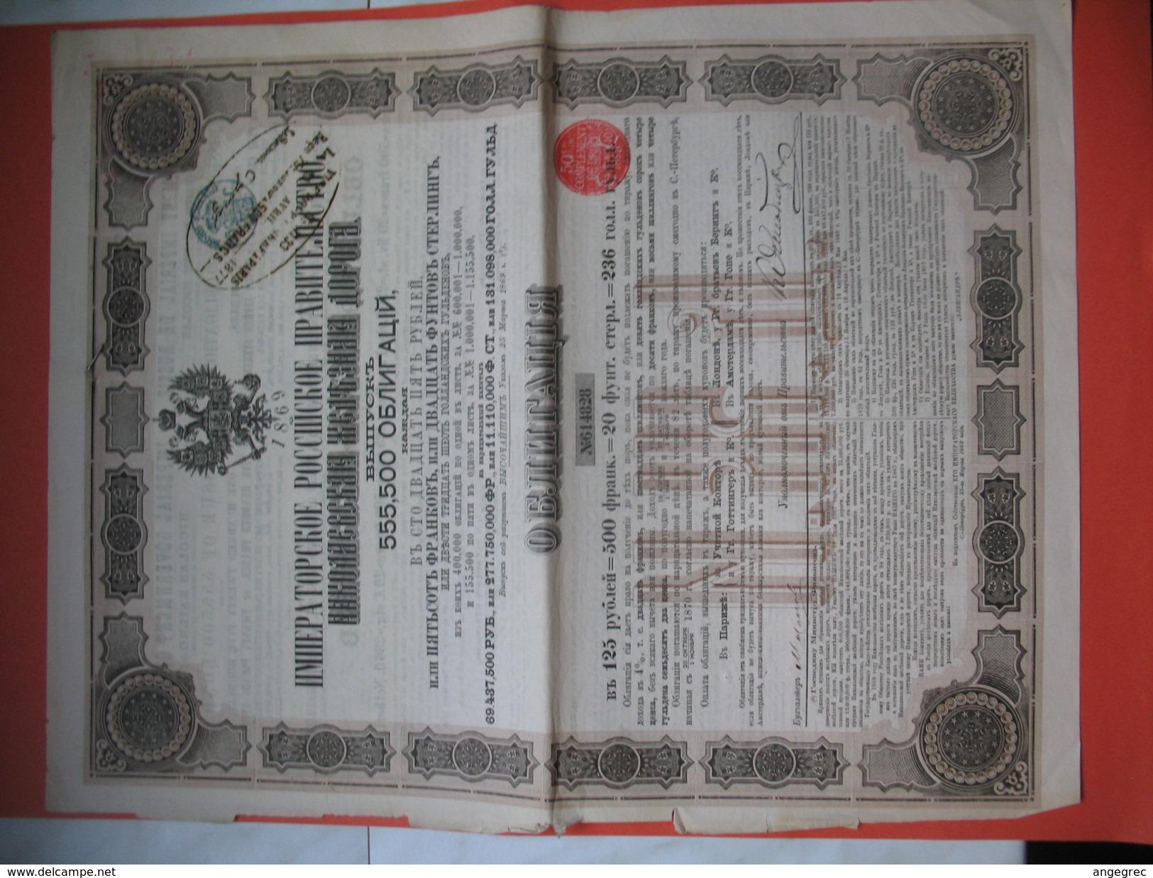 Gouvernement Impérial De Russie, Compagnie Du Chemin De Fer Du Nicolas N° 614828 Et 090995 Du Nord-Donetz - Chemin De Fer & Tramway
