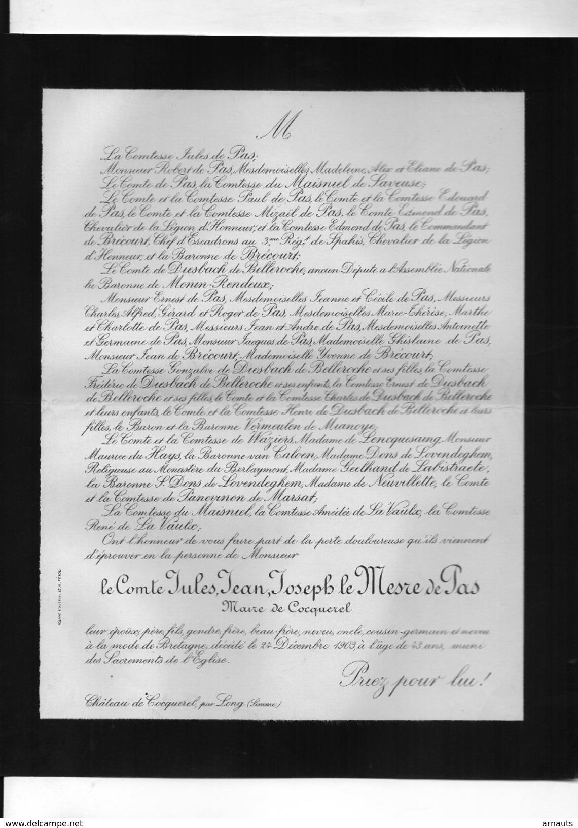 Jules Le Mesre De Pas Maire De Cocquerel +1903 Long Somme Du Maisniel De Saveuse De Diesbach De Belleroche Vermeulen - Décès