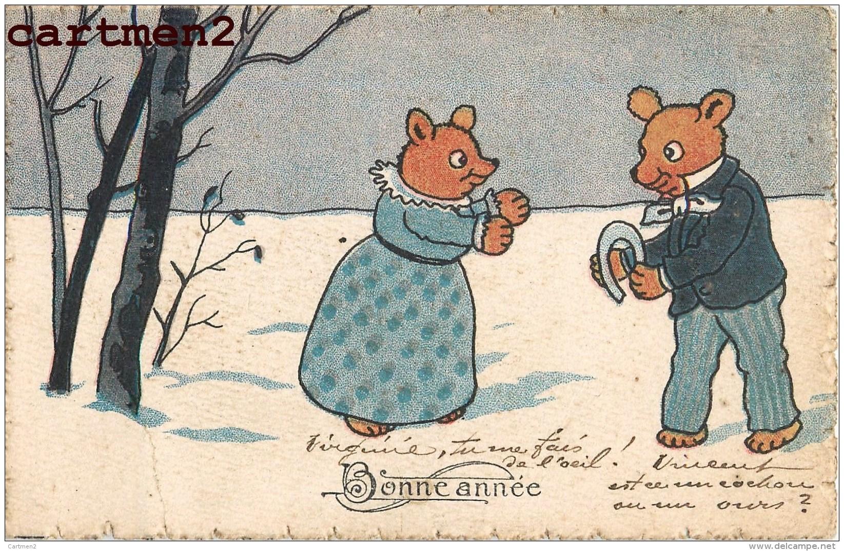 BONNE-ANNEE ILLUSTRATEUR AUTRICHIEN OURS BEAR HUMOUR AUSTRIA B.K.W. VIENNE AUTRICHE - Neujahr
