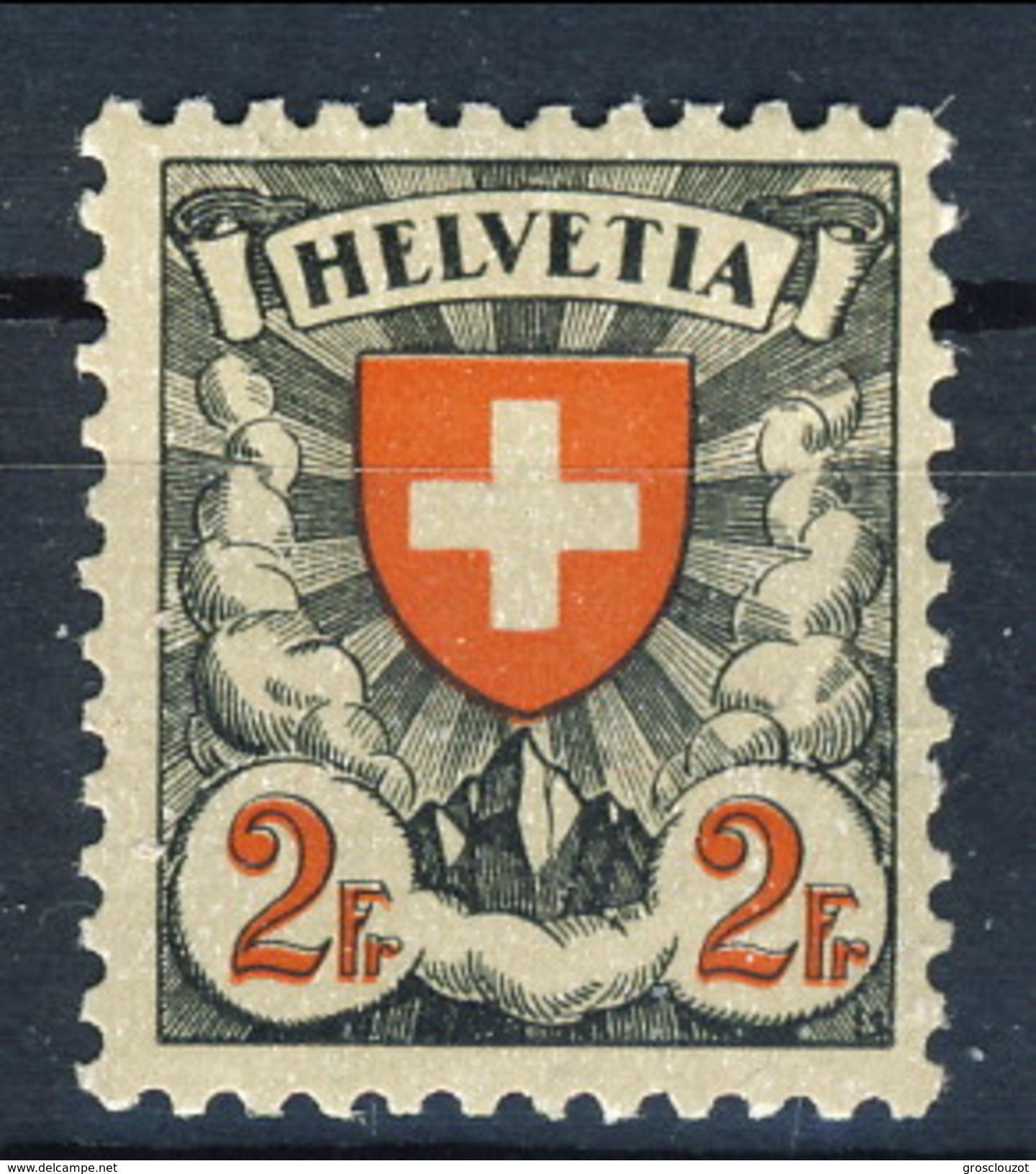Svizzera 1924 N. 211A F. 2 Carta Patinata Goffrata MLH Cat. € 126 - Svizzera