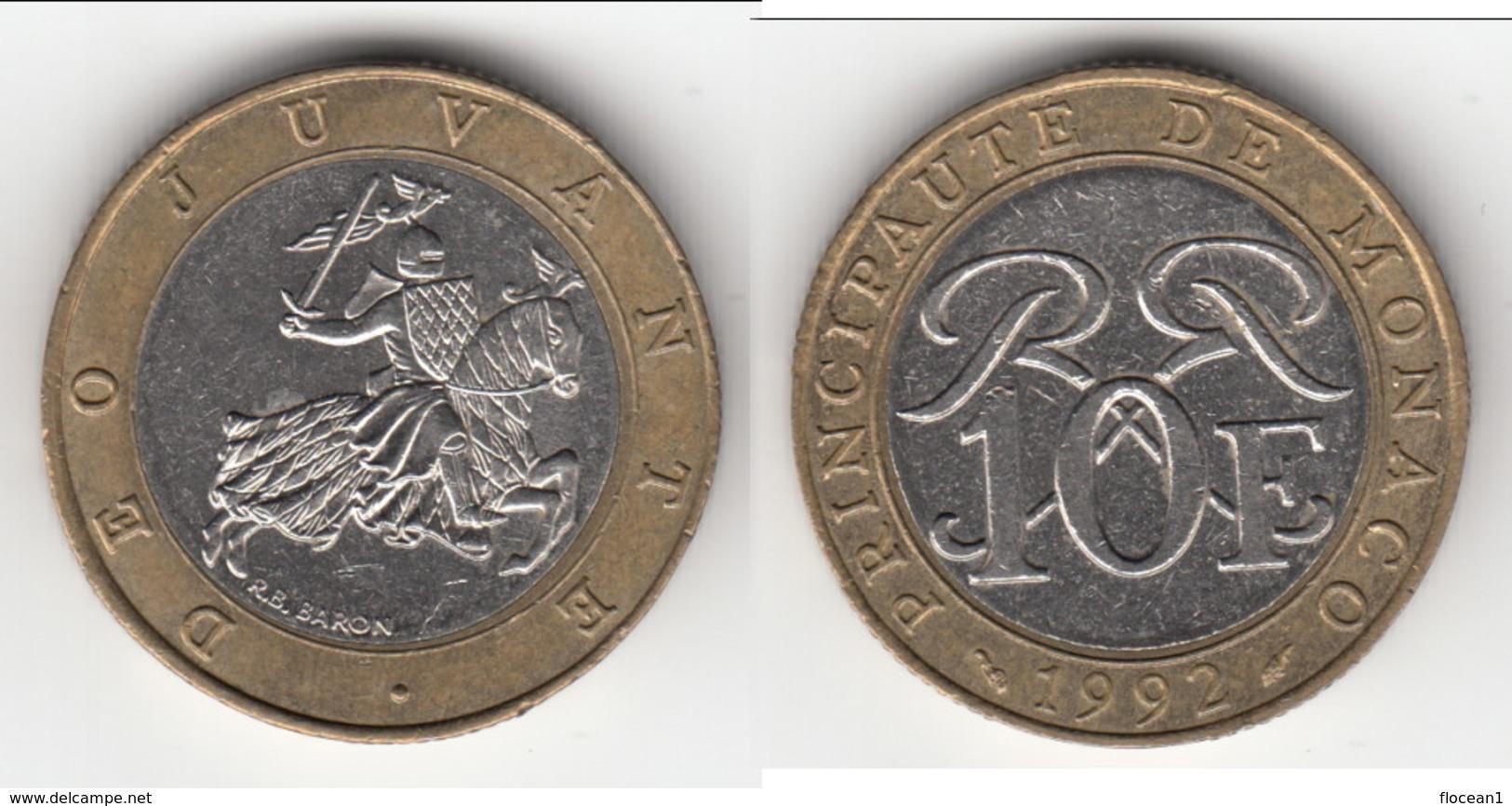 **** MONACO - 10 FRANCS 1992 - SCEAU DES GRIMALDI - RAINIER III  **** EN ACHAT IMMEDIAT !!! - 1960-2001 Nouveaux Francs