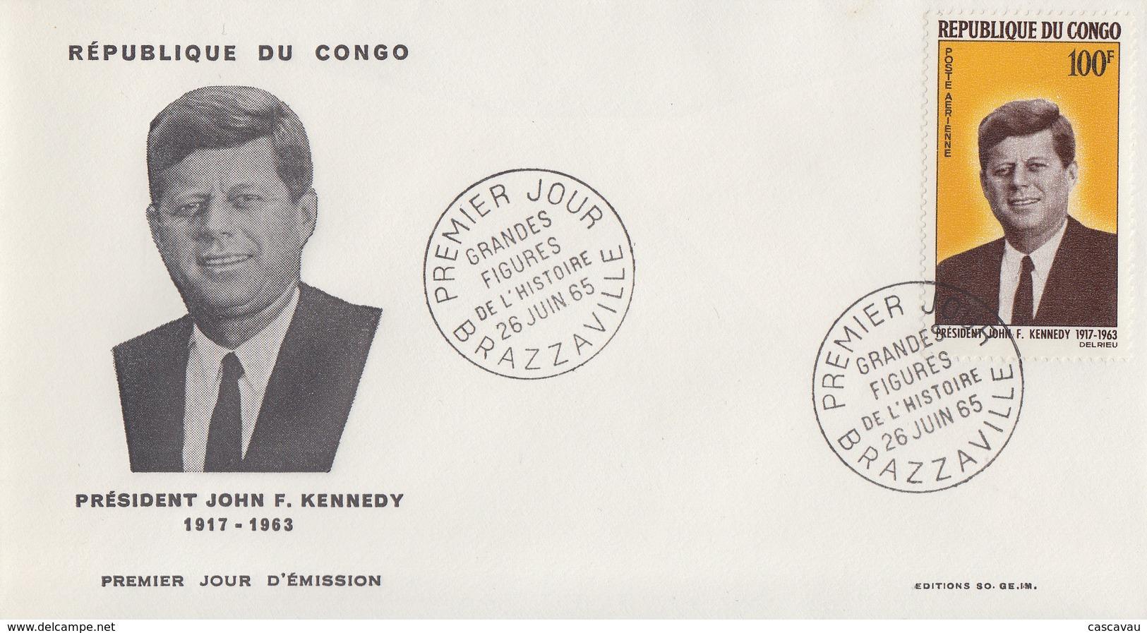 Enveloppe  FDC  1er  Jour    CONGO    Président   John  KENNEDY   1965 - Kennedy (John F.)