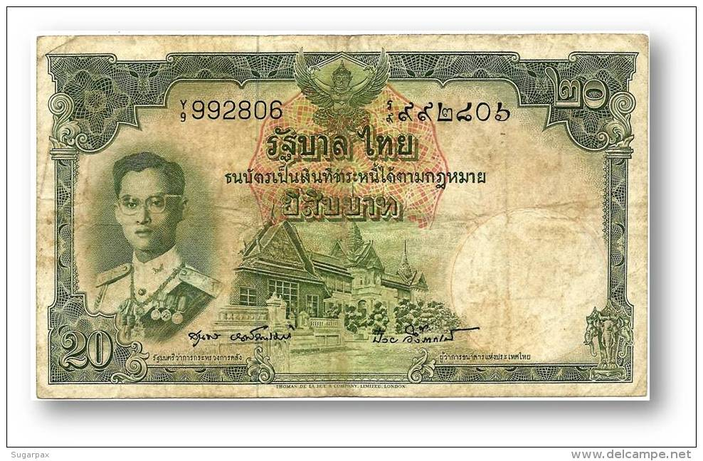 THAILAND - 20 Baht - ND ( 1953 ) - Pick 77.d - Sign. 40 - Serie Y/9 - King Rama IX - 2 Scans - Thailand