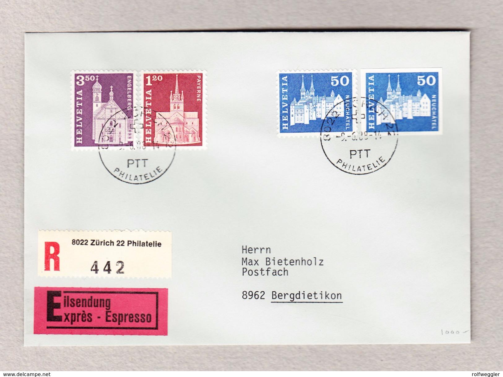 Schweiz Zu #417U Ungezähnt Mit Zusatzfrankatur Auf Express R-Brief Zürich 9.6.1988 - Suisse