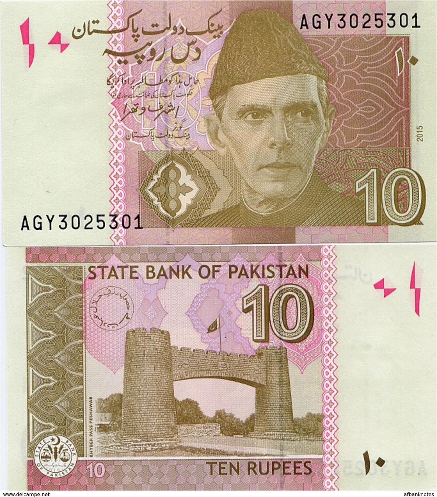 PAKISTAN        10 Rupees        P-45j         2015        UNC  [sign. Ashraf M. Wathra] - Pakistan