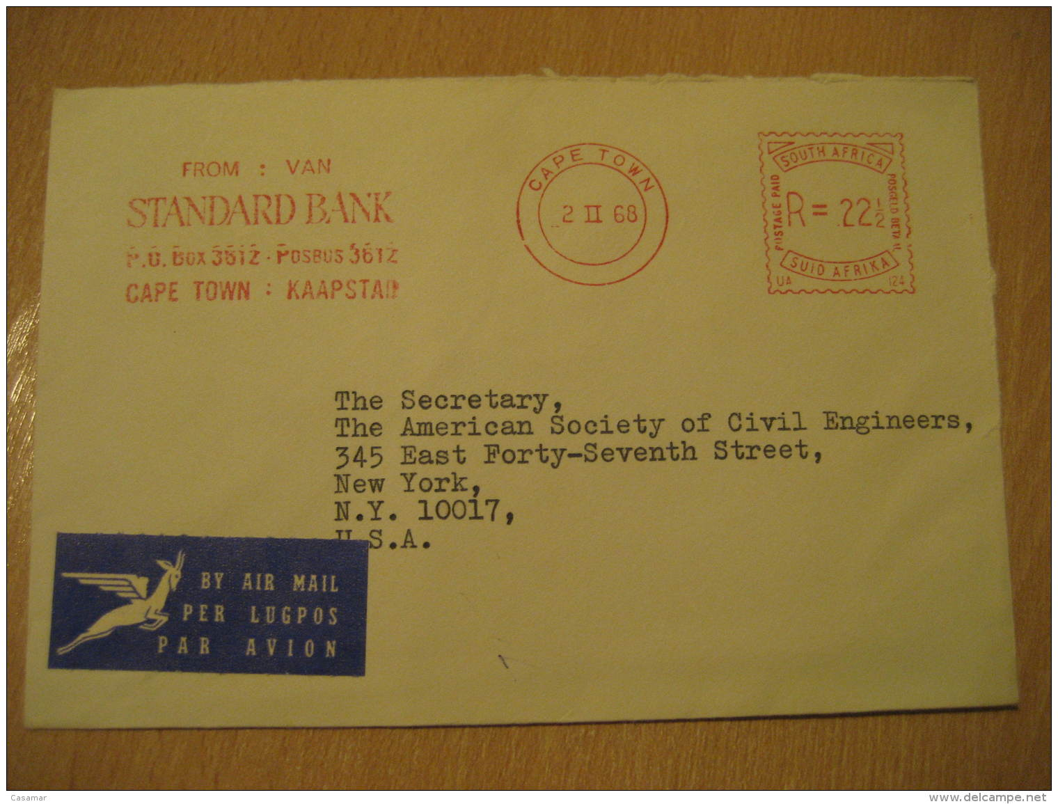 CAPE TOWN 1968 STANDARD BANK Metter Mail Cancel Air Mail Cover SOUTH AFRICA - Afrique Du Sud (1961-...)