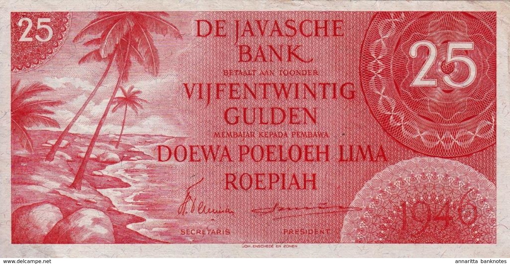 *  NETHERLANDS INDIES 25 GULDEN 1946 P-92 UNC - Dutch East Indies