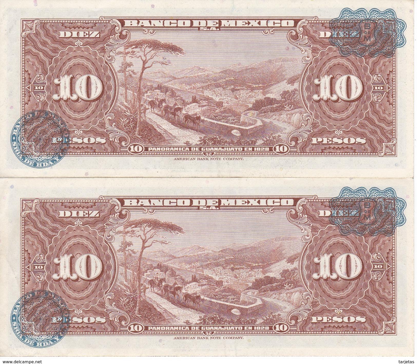 PAREJA CORRELATIVA DE MEXICO DE 10 PESOS DEL AÑO 1965 CALIDAD EBC (XF)  (BANKNOTE) - México