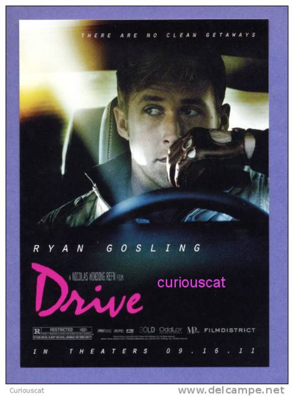 POSTCARD FILM CINEMA POSTER ADVERTISEMENT CARD For FILM MOVIE    DRIVE    With RYAN GOSLING - Posters On Cards