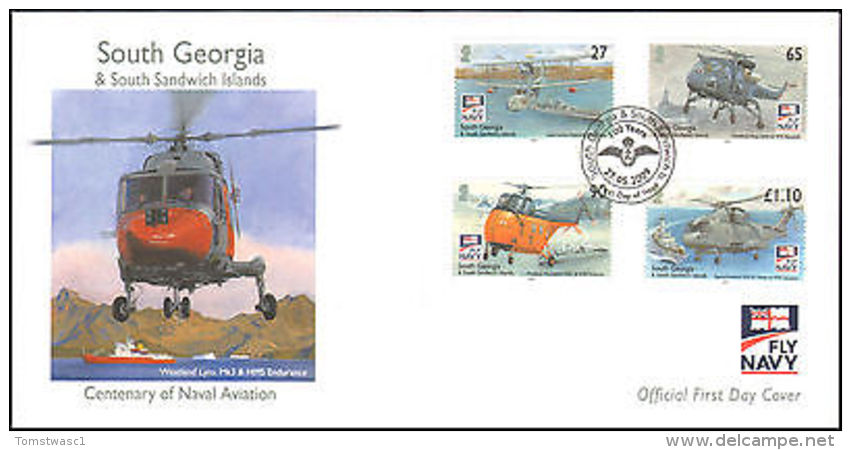 2009 SOUTH GEORGIA FIRST DAY HELICOPTERS NAVAL AVIATION  + PAMPHLET - Stamps