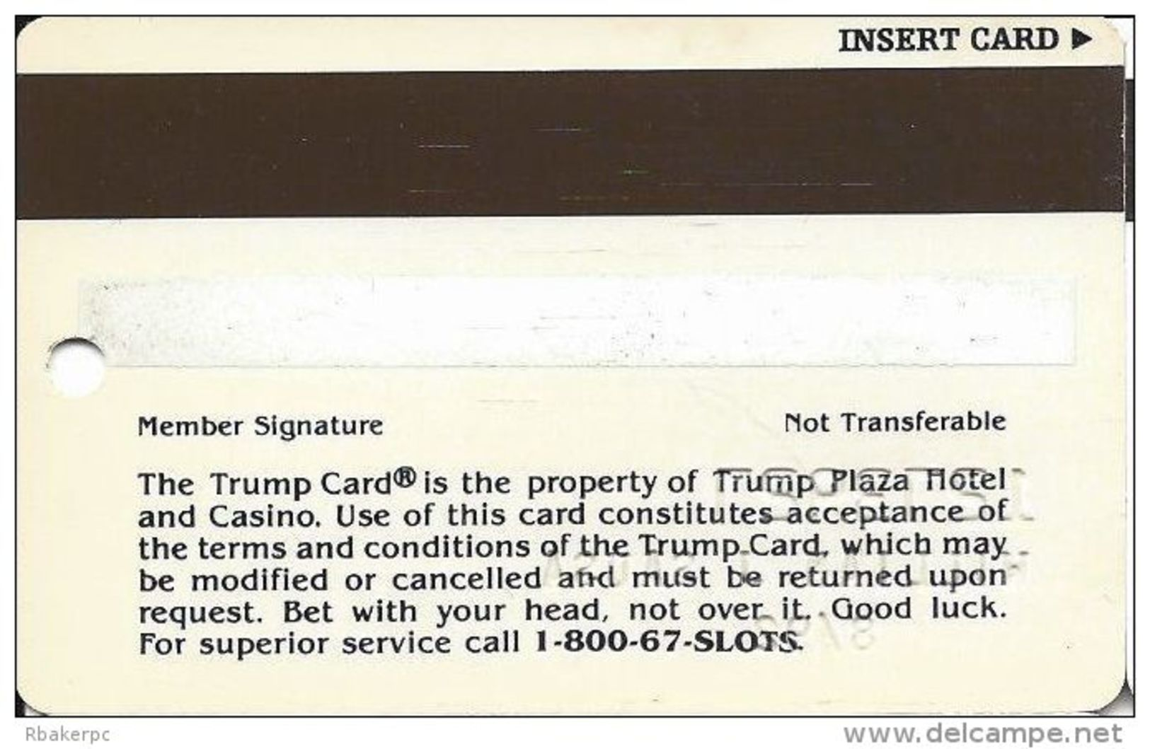 Trump Plaza Casino Atlantic City NJ Slot Card - Wide Trump Card On Front - Casino Cards