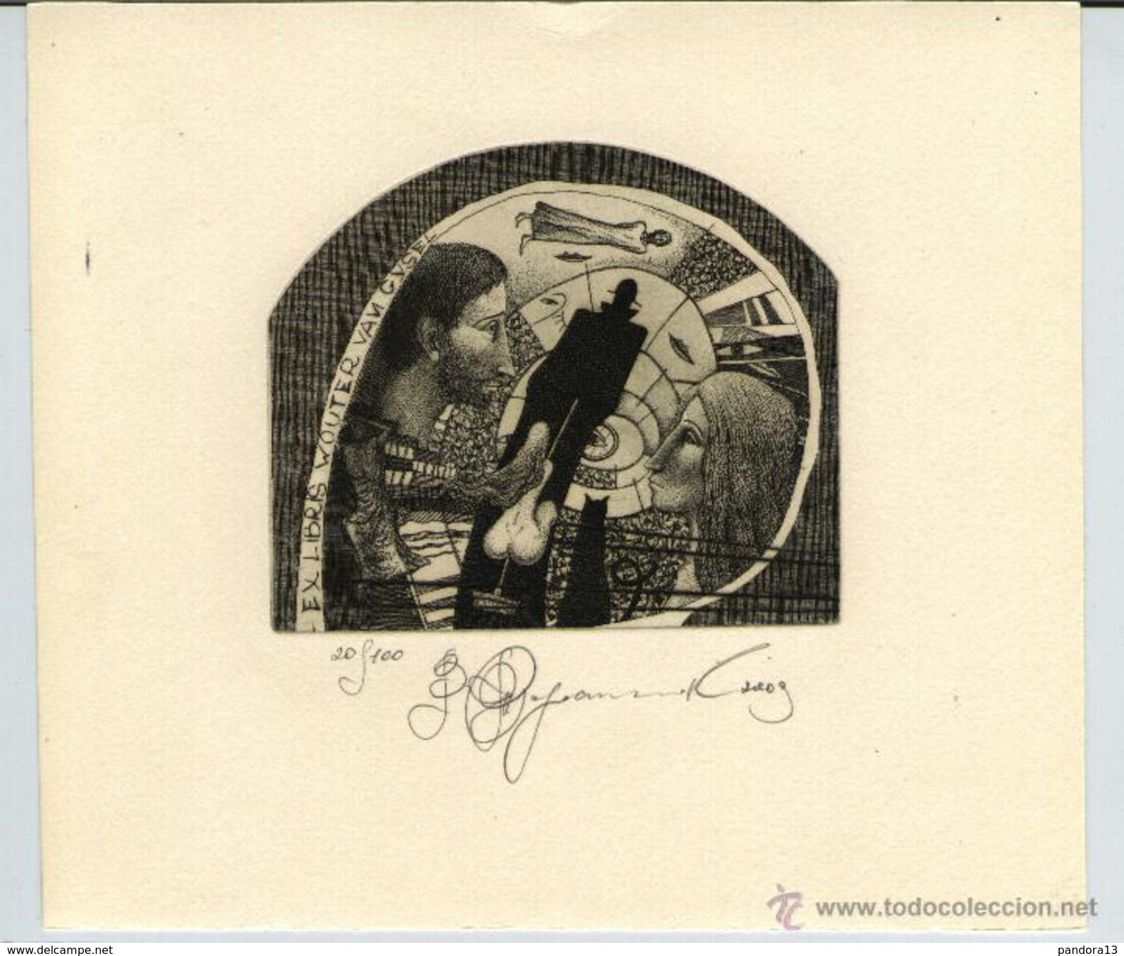 Ank Spronk Cat EX LIBRIS Father Garden Kitty Cat Signed Etching c3 Etching