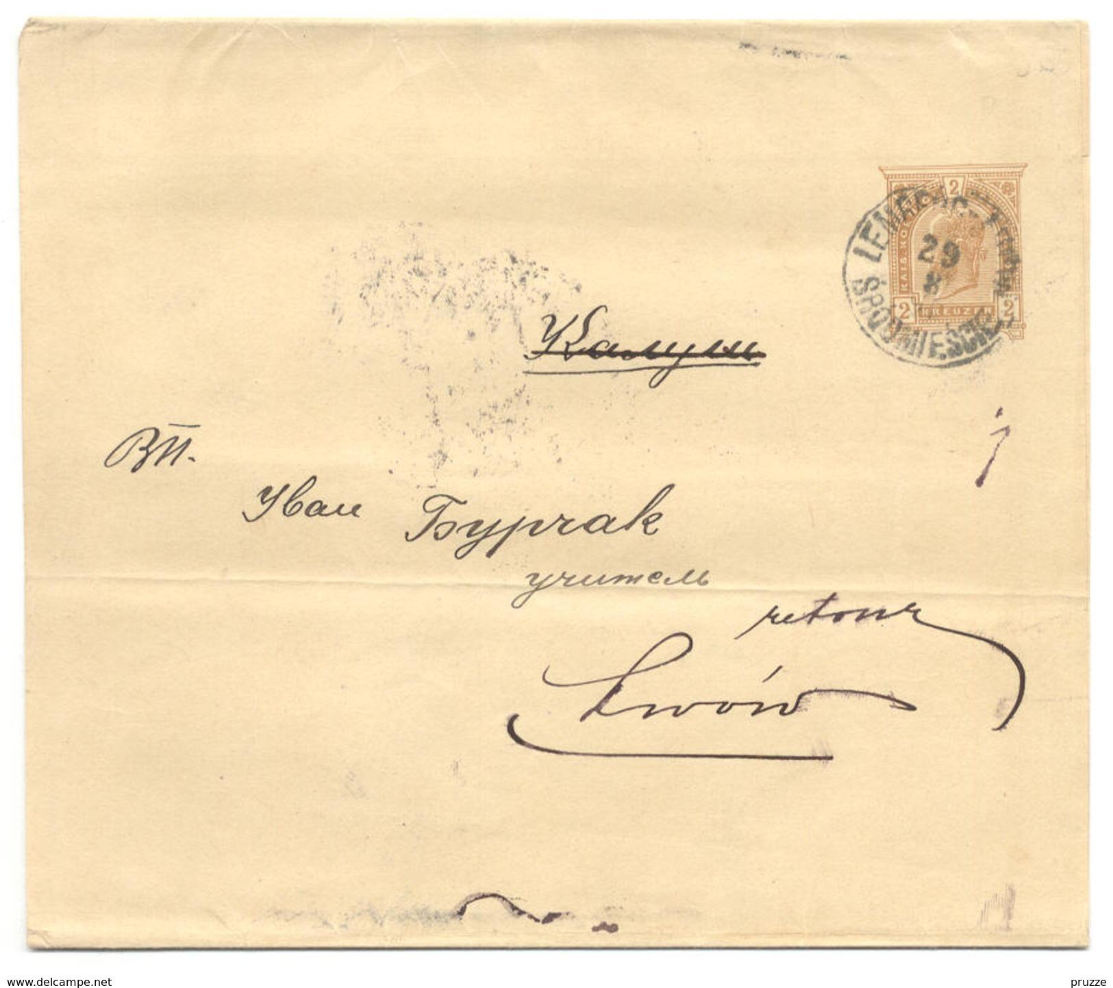 Ganzsache Schleife österreichisch Polen, Galizien, Lemberg 1899 Nach Kalusz Und Return - Ganzsachen