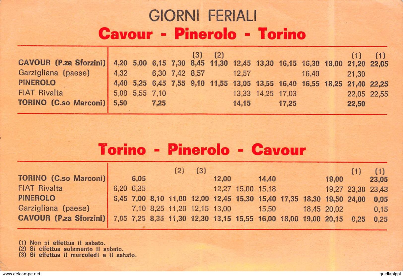 "05439  ""(TO) CAVOUR - ORARIO AUTOLINEE CAVOURESE 1974"" ORARIO DA CAVOUR-PINEROLO-TORINO - Europe"