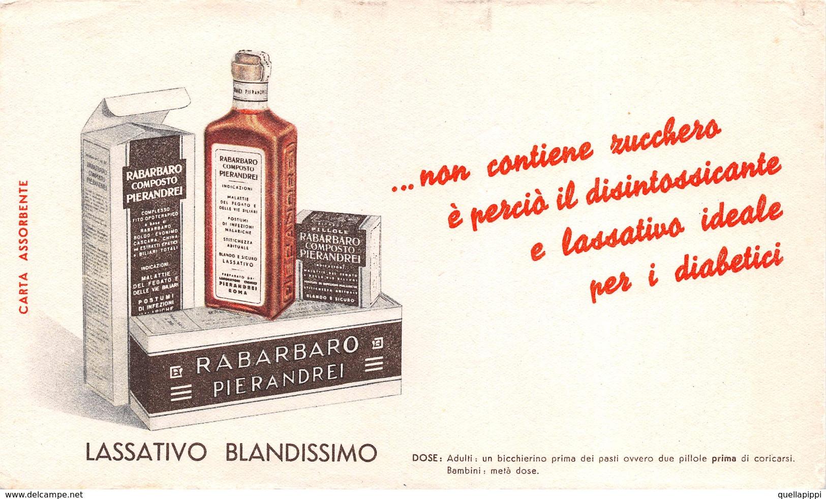 "05451 ""PIERANDREI - ROMA - RABARBARO COMPOSTO - LASSATIVO BLANDISSINO"" CARTA ASSORBENTE - Alimentare"