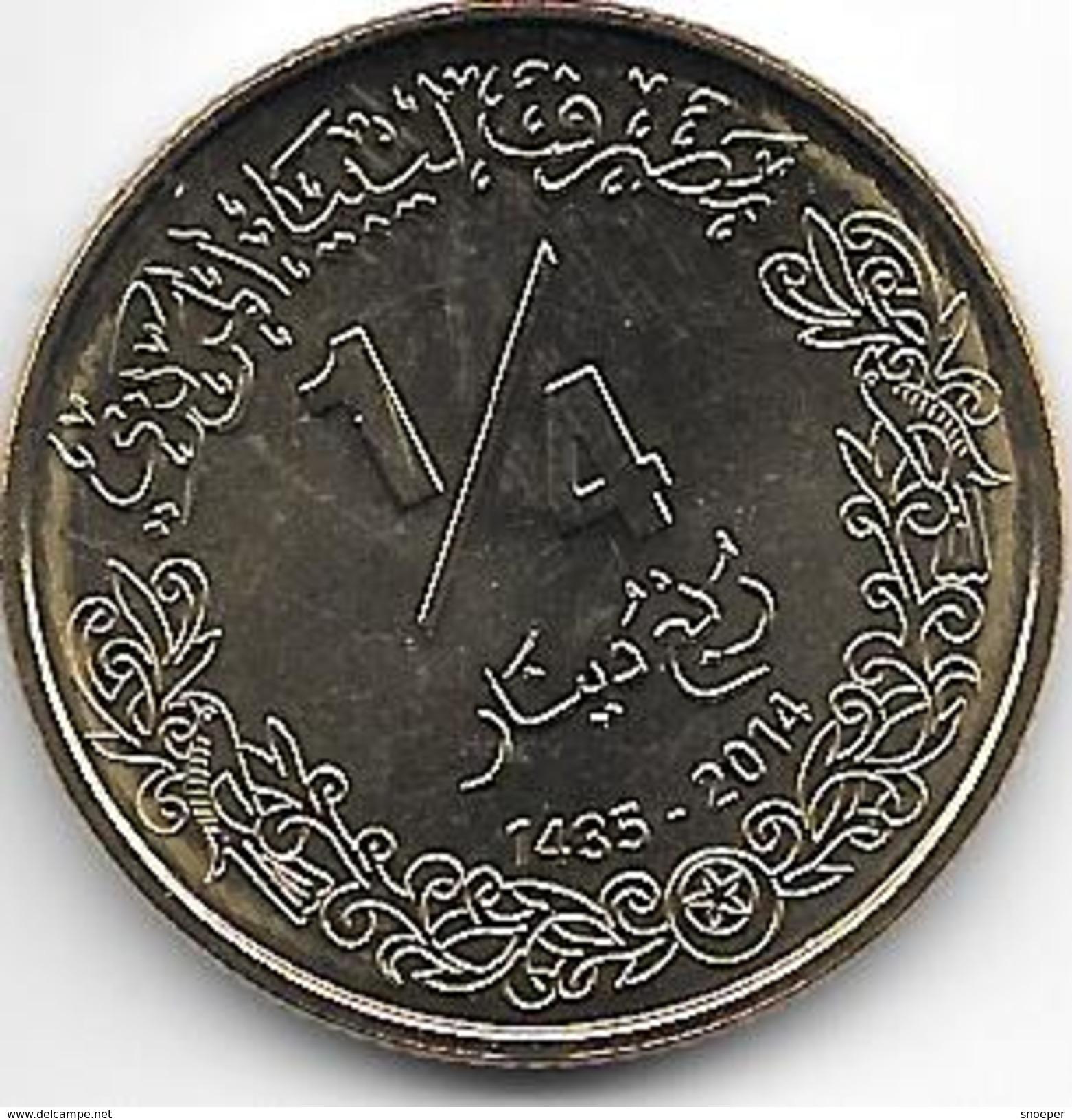 *libya 1/4 Dinar 2014     Km New   Unc - Libye
