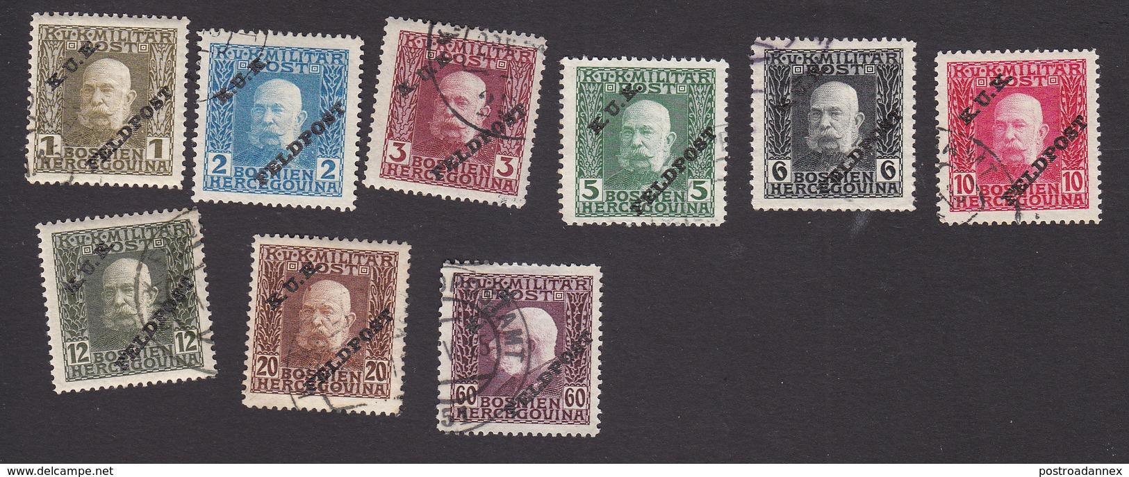 Austria, Scott #M1-M8, M15, Used, Bosnia Stamps Of Franz Josef Overprinted, Issued 1915 - Austria