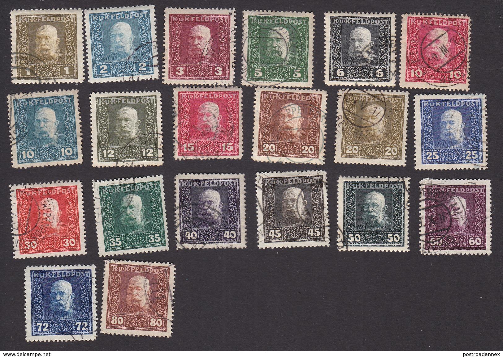 Austria, Scott #M22-M41, Used, Franz Josef, Issued 1915 - Austria
