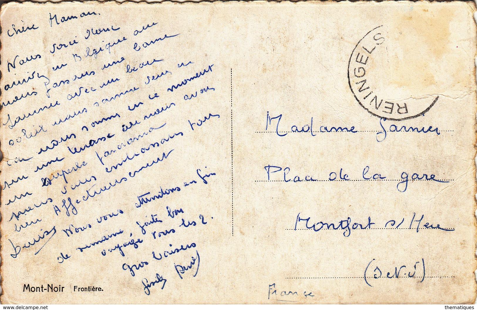 Thematiques 59 Nord Mont Noir Saint Jans Cappel Frontiere 2 CV Fourgonnette Pub Pec Cachet Reningelst - Autres Communes