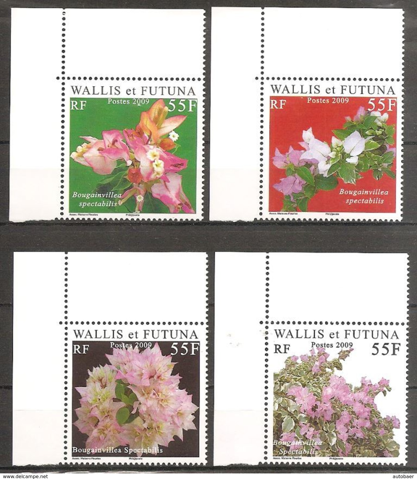 Wallis Und Et Futuna 2009 Bougainvillea Fleurs Michel No. 987-90 MNH Postfrisch Neuf - Ungebraucht