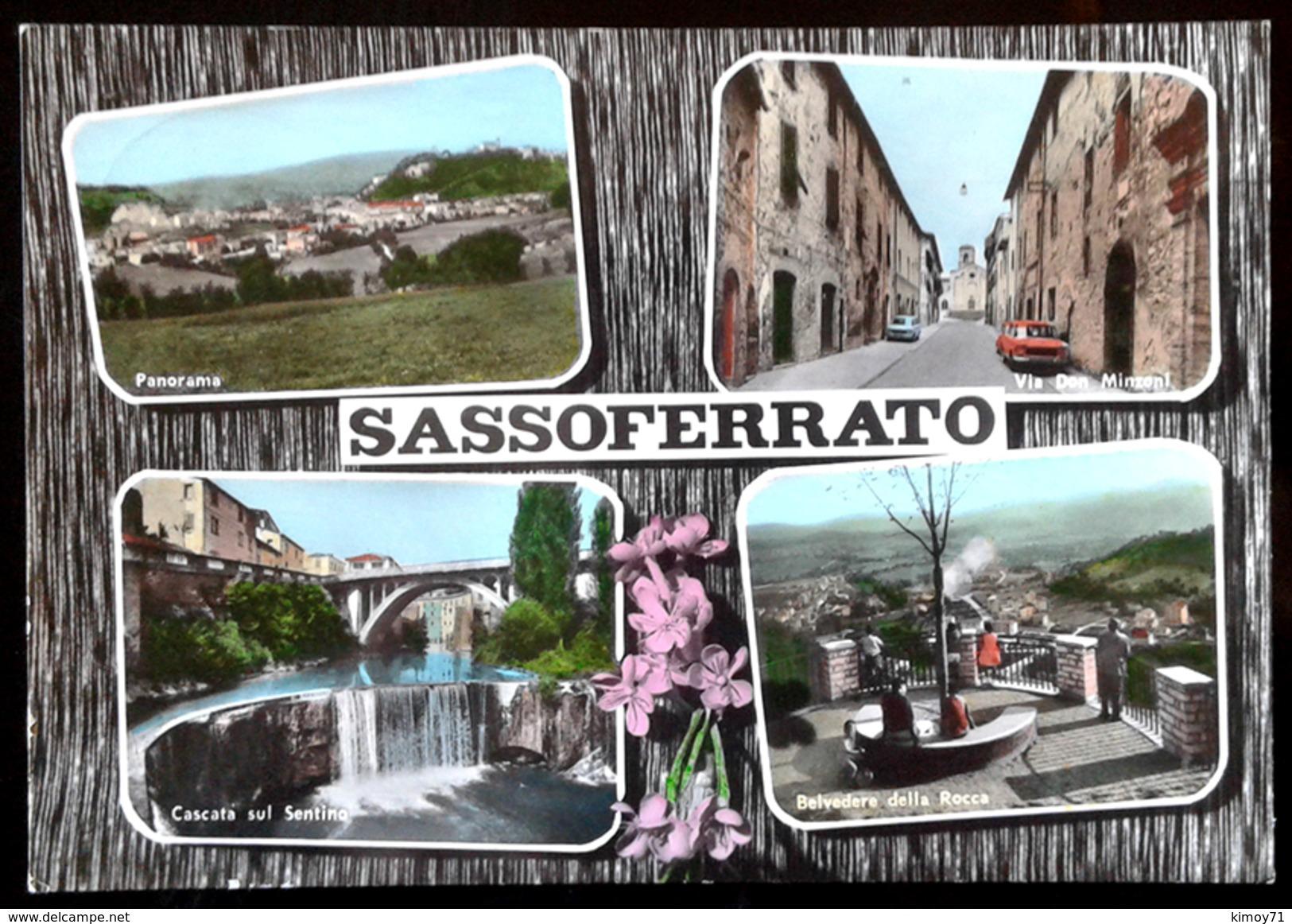 SASSOFERRATO (Ancona) Cartolina Con 4 Scorci, Anni 60 - Ancona
